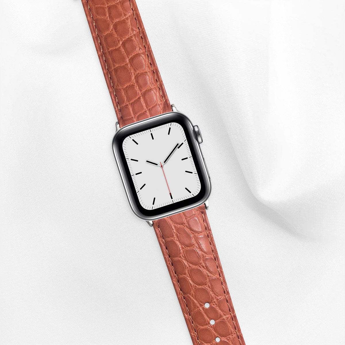 Matte Alligator 40mm Apple Watch 5 Strap, Ginger Orange, Round Scales, for Small Casing