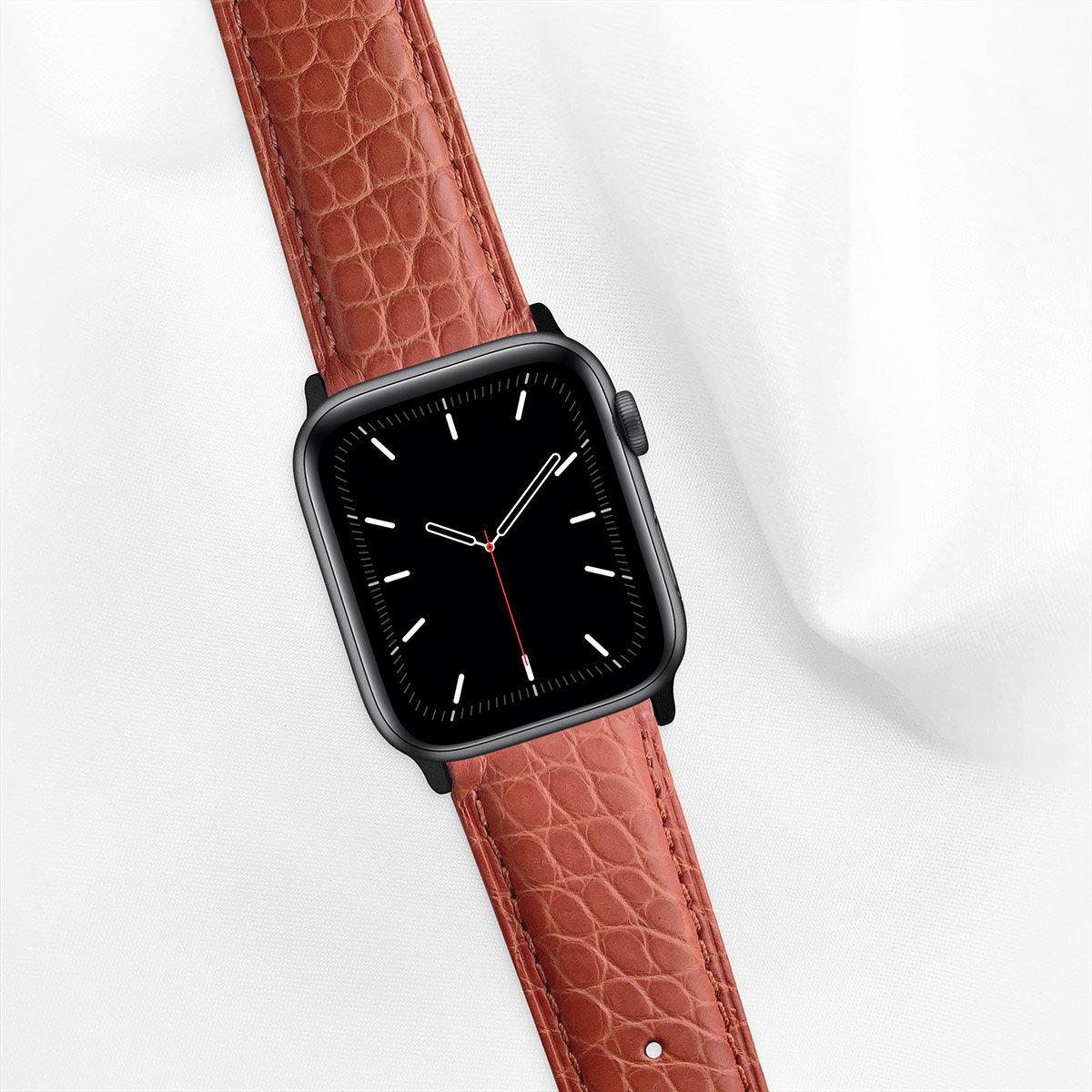 Matte Alligator 44mm Apple Watch 5 Strap, Ginger Orange, Round Scales, for Large Casing