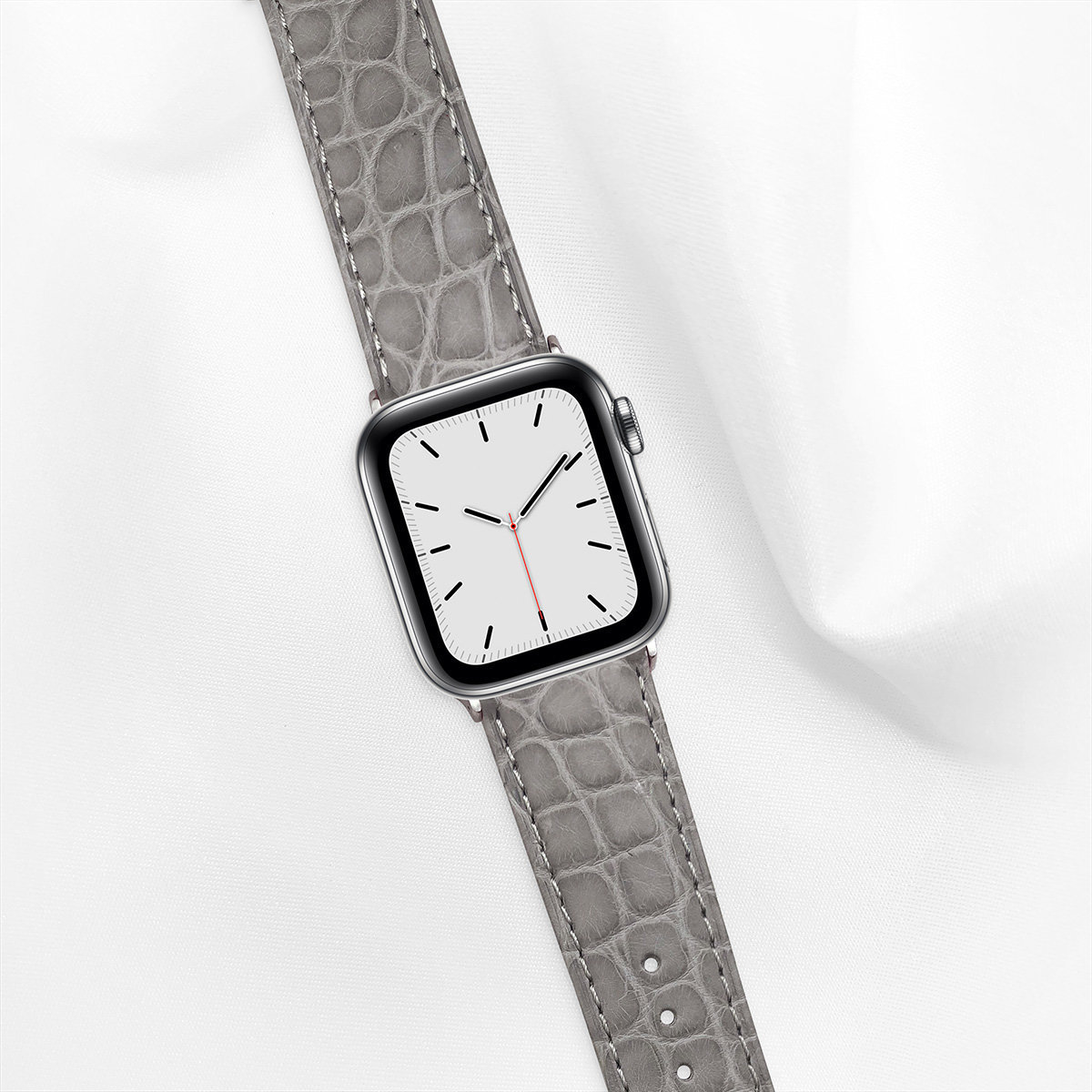 Matte Alligator 40mm Apple Watch 5 Strap, Light Grey, Round Scales, for Small Casing