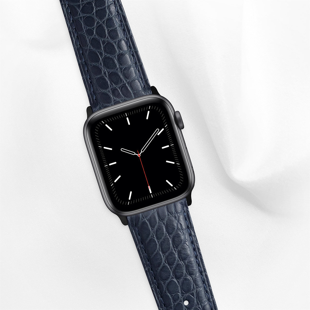 Matte Alligator 44mm Apple Watch 5 Strap, Space Blue, Round Scales, for Large Casing