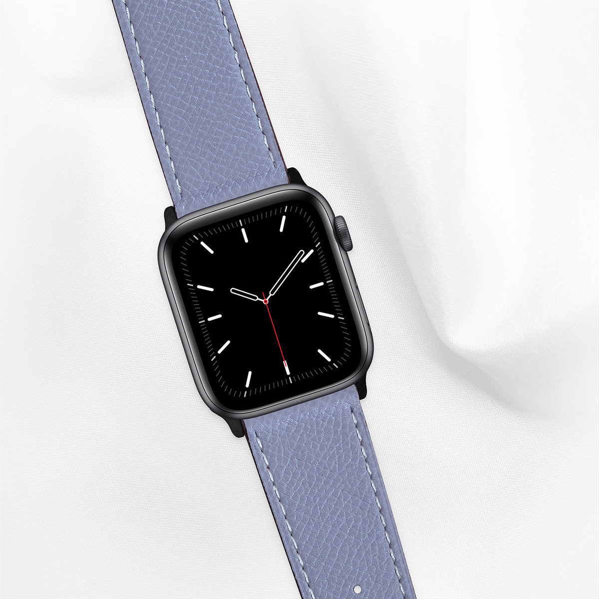 Epsom Leather 44mm Apple Watch 5 Strap, Pale Sleet Blue, for Large Casing