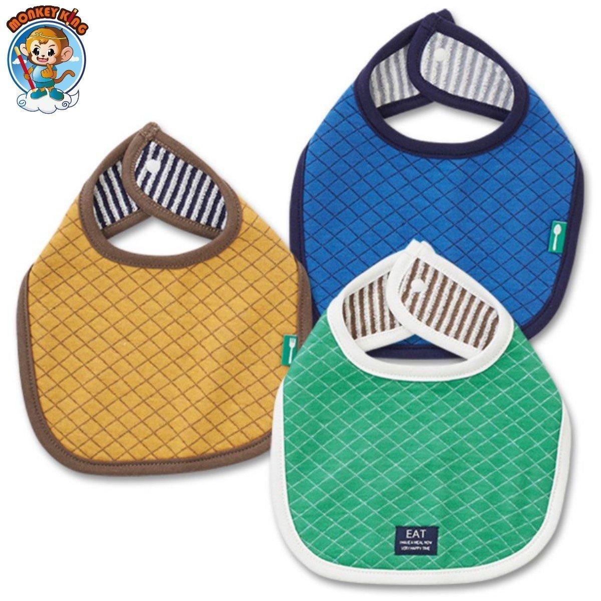 California Cotton Reversible Baby Bib/Muslin (3-Pack) - Blue/Green/Brown