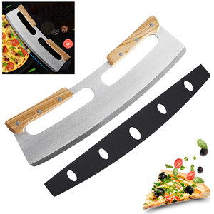 屯團百貨 雙把手披薩刀 木柄半圓披薩滾刀 雙把手易操作 披薩刀 實木雙把手 PIZZA 披薩刀 土司去邊刀