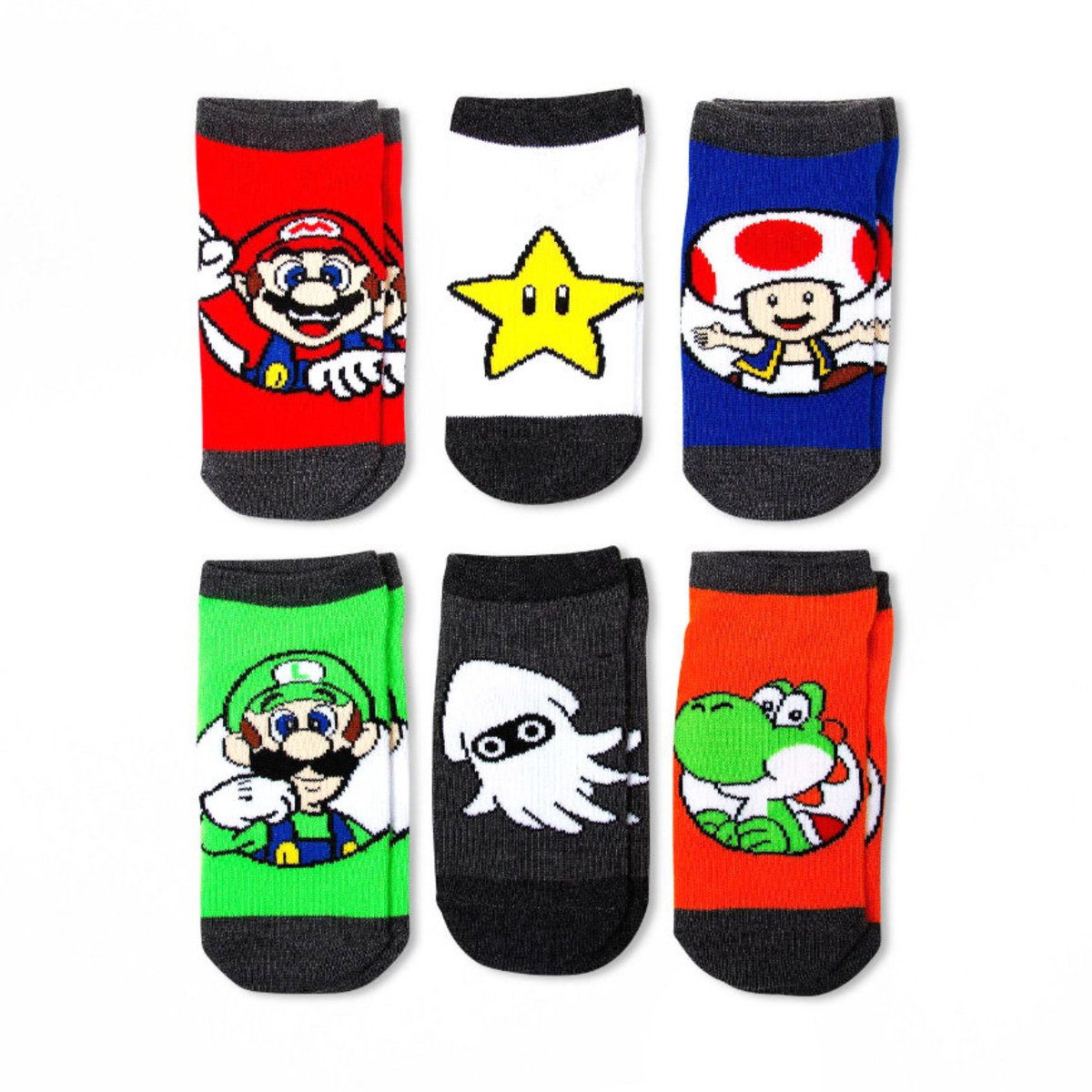 Kids Super Mario Socks 6 pairs (parallel)