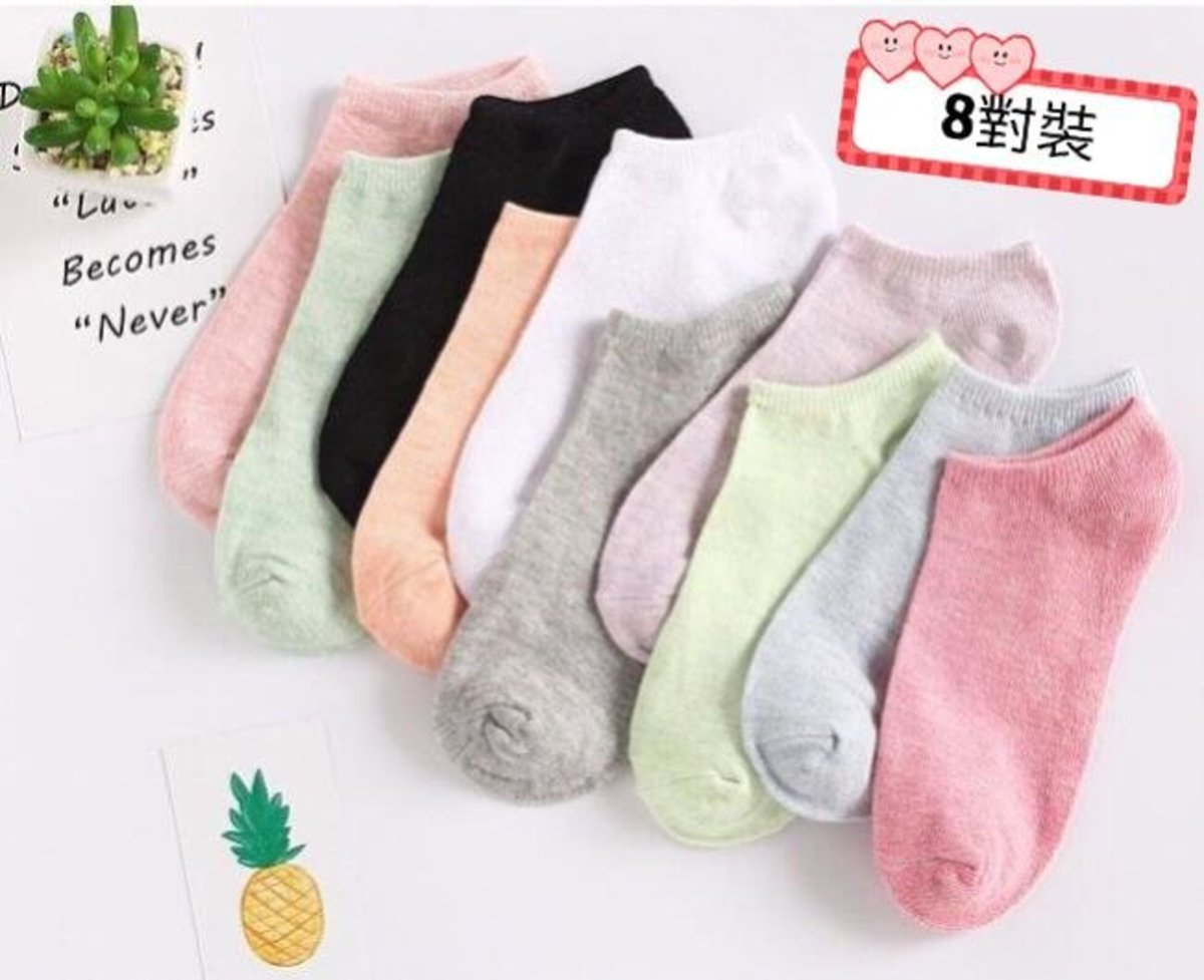 【8 Pairs】Cotton boat Socks for Women Size 35-40【Random Color】