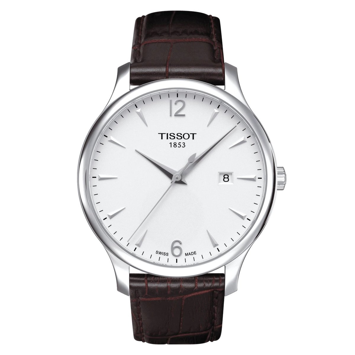 TISSOT T-Class Tradition Men's Leather Watch - Silver (parallel goods)