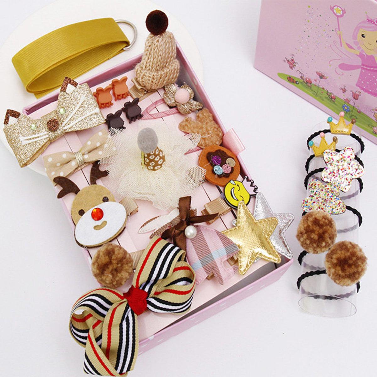 24件公主風兒童布藝髮飾禮盒套裝 - 可愛小鹿