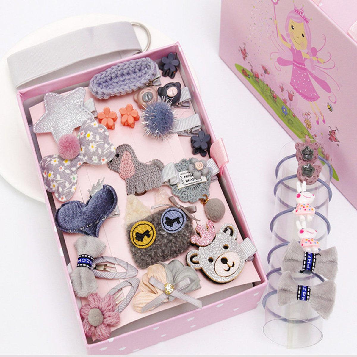 24件公主風兒童布藝髮飾禮盒套裝 - 灰色小熊
