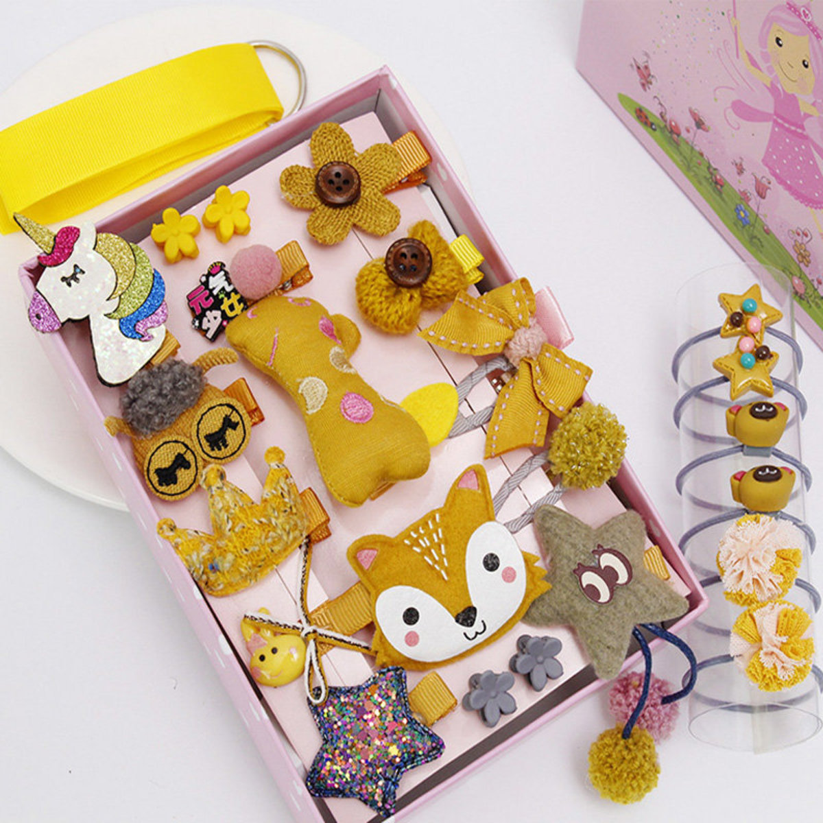 24 pieces Princess Style Hair Accessories Gift Set - Yellow Fox