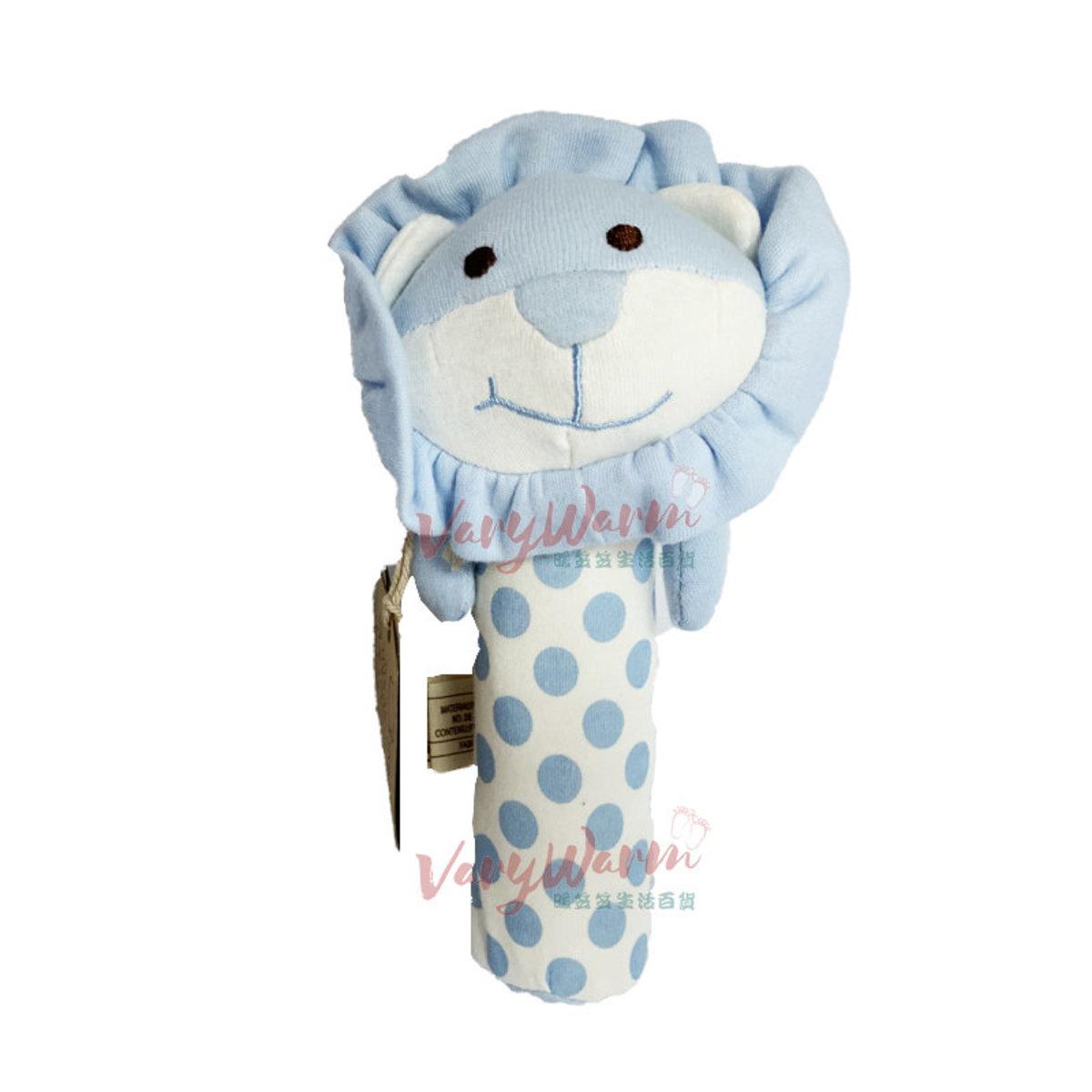 有機棉吱吱叫安撫棒棒玩具 - 藍色獅子