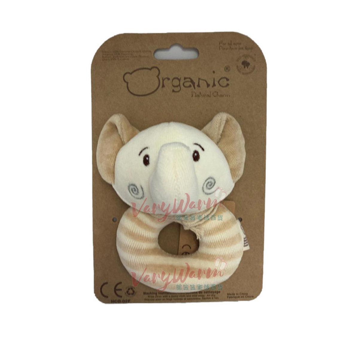 有機棉絨毛面搖鈴玩具-小象