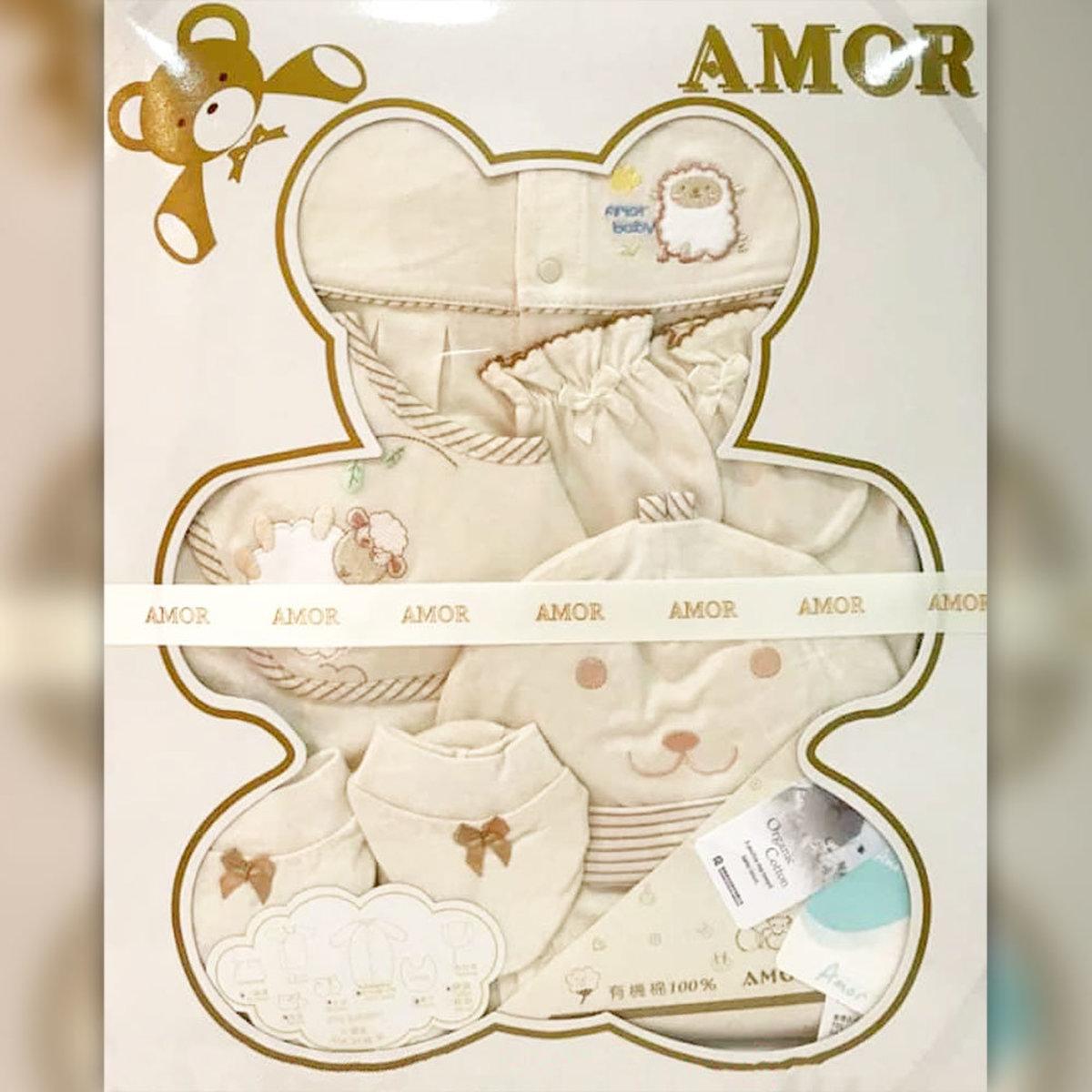精梳棉台灣製-禮盒(有機棉) 5件套-兩用袍,口水肩,帽,手套,腳套