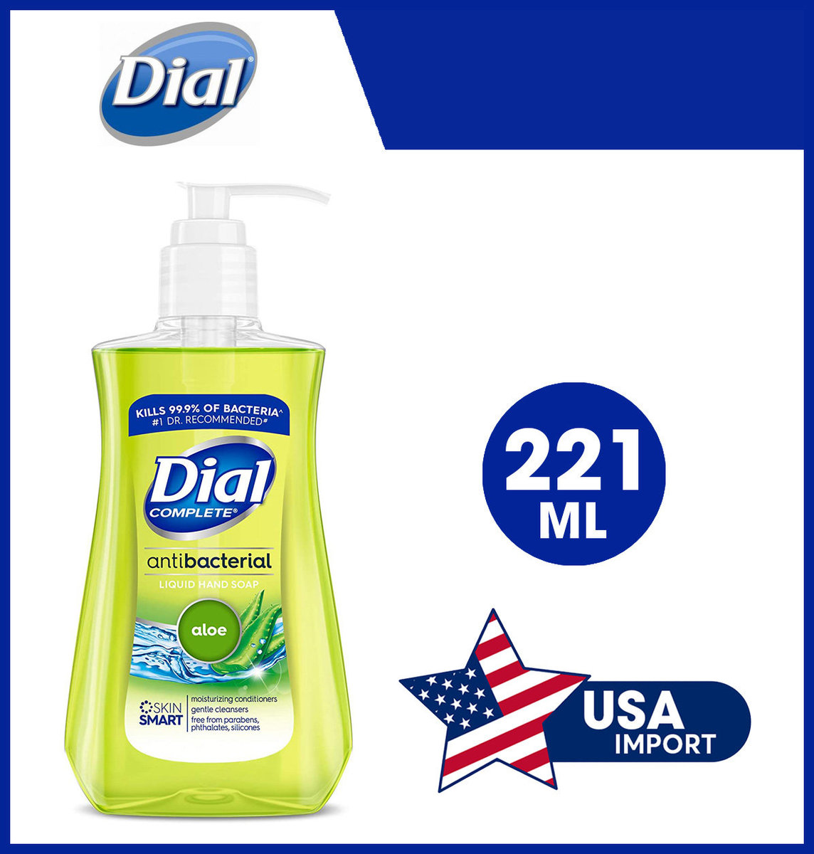 Antibacterial Liquid Hand Soap, Aloe, 221 ML, USA Parallel Import