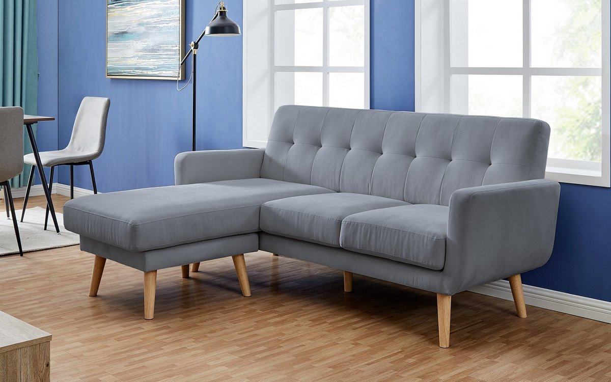 3 SEATS CORNER SOFA IN GRAY COLOR WITH POLYESTER FABRIC