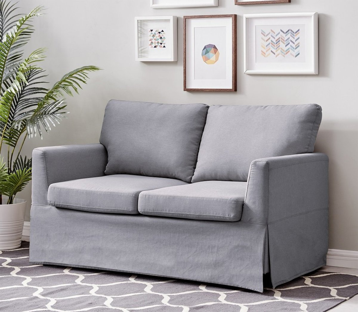 2 SEATS SOFA IN GRAY COLOR WITH POLYESTER FABRIC