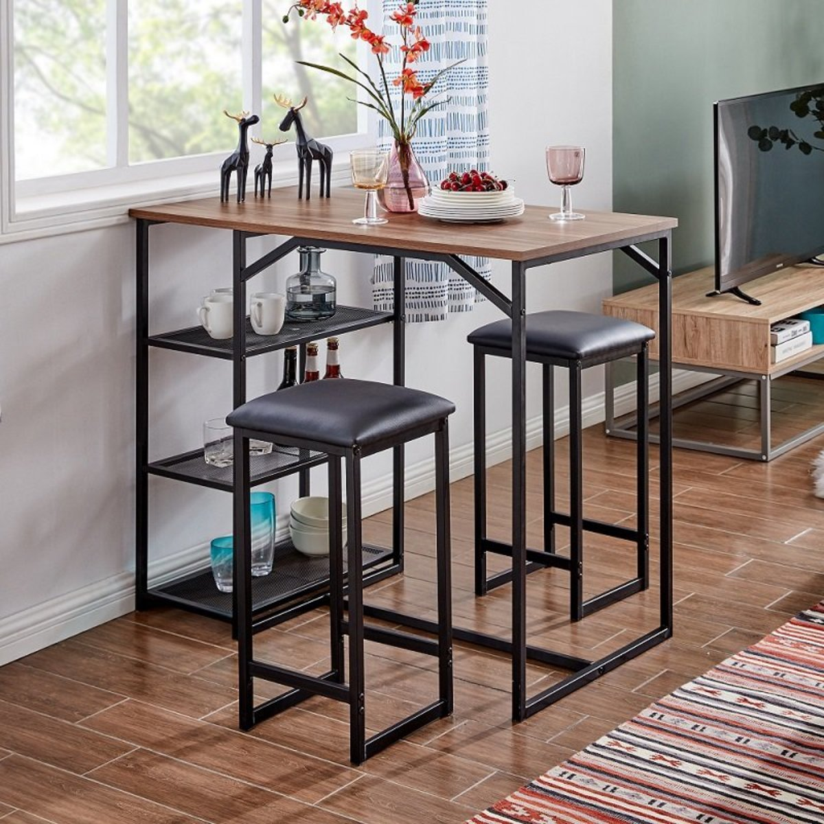 BAR SET WITH ONE BAR TABLE AND TWO BAR CHAIRS