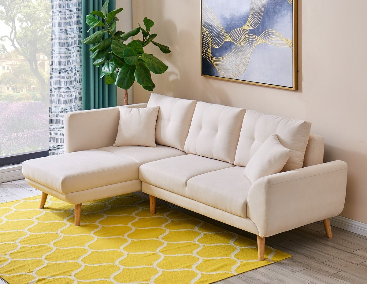 3 SEATS CORNER SOFA IN CREAMY WHITE COLOR WITH POLYESTER FABRIC