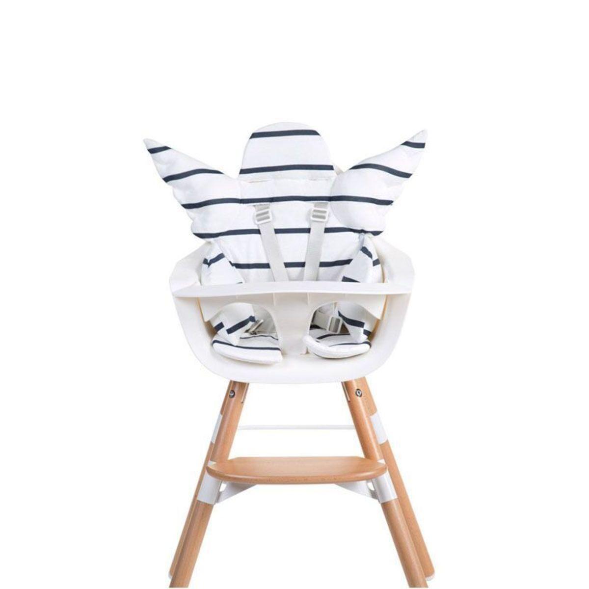 EVOLU ONE.80旋轉 成長餐椅(白/原木) 連造型坐墊及餐盤