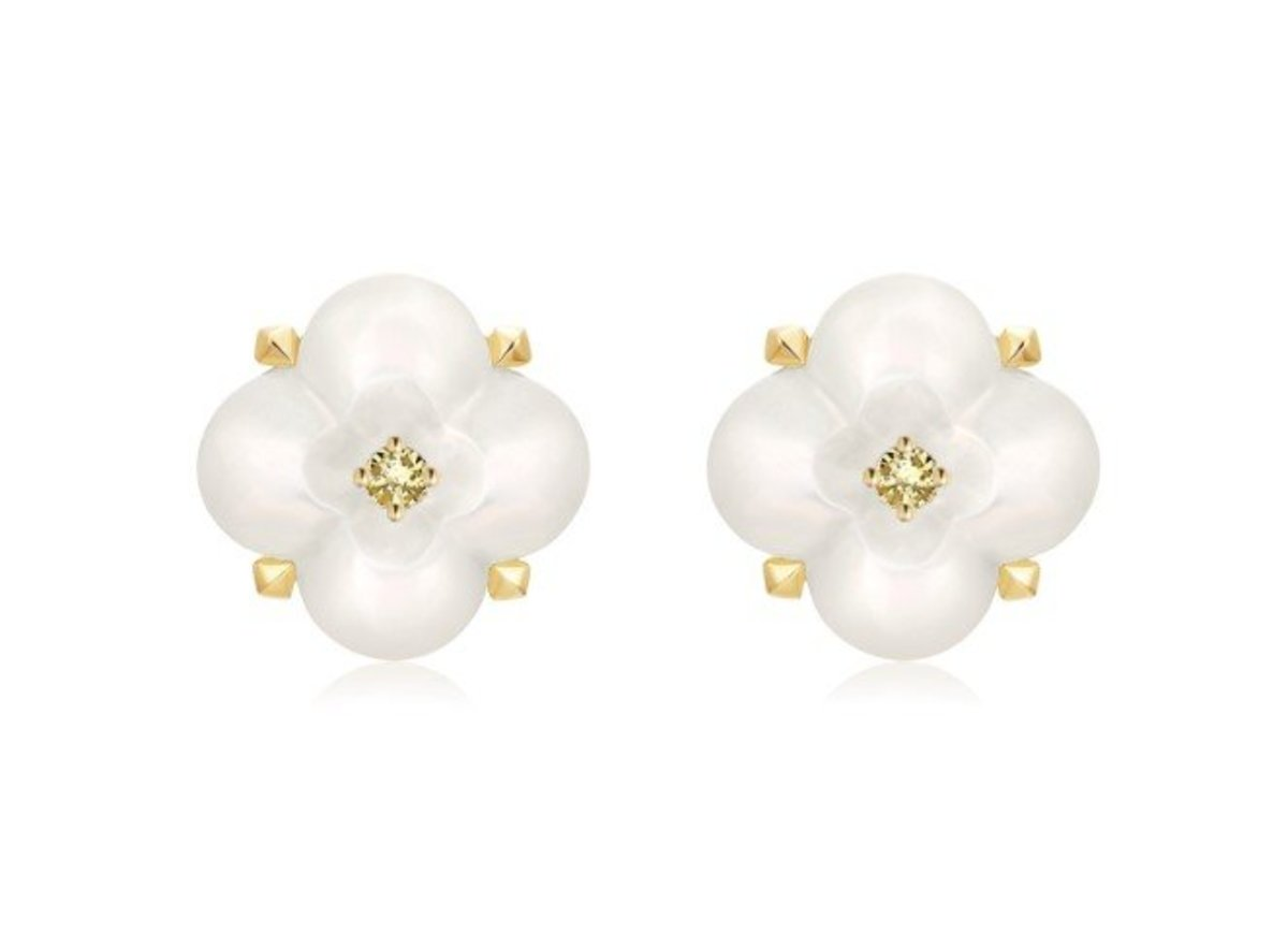 Fontana di Trevi Mini Mother-of-Pearl and Yellow Diamond Earrings