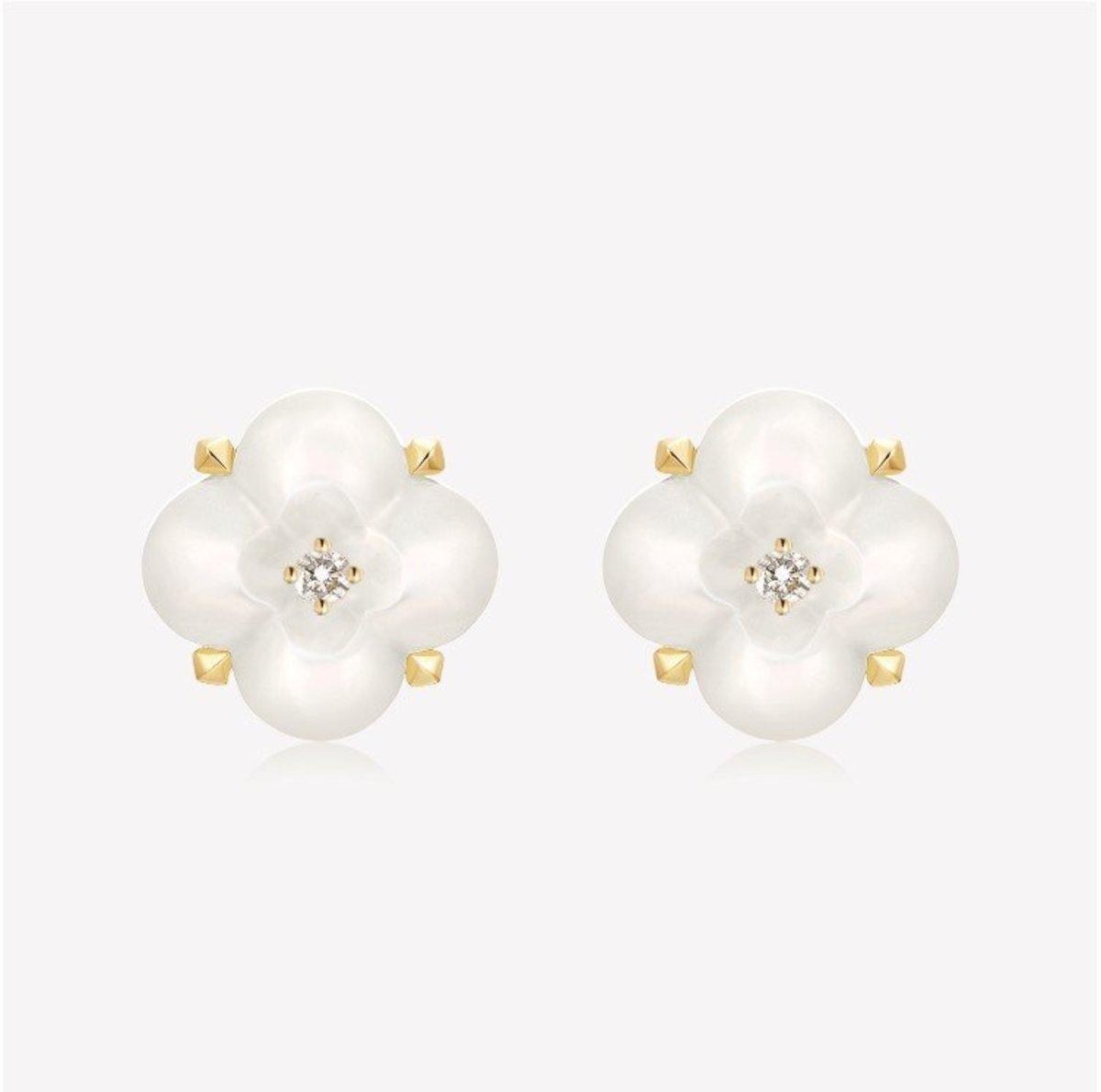 Fontana di Trevi Mini Mother-of-pearl and Diamond Earrings