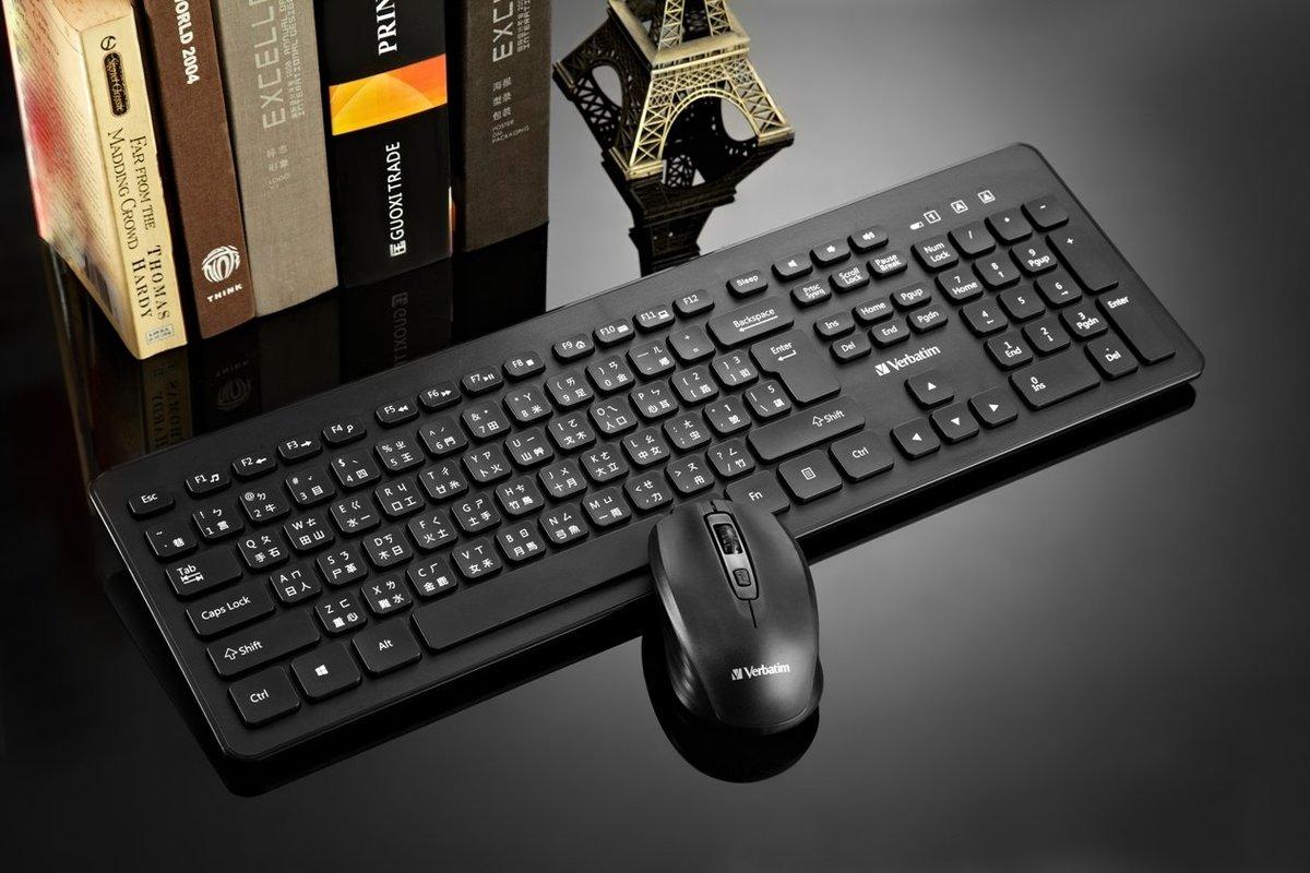 無線光學鍵盤 + 滑鼠套裝 黑色