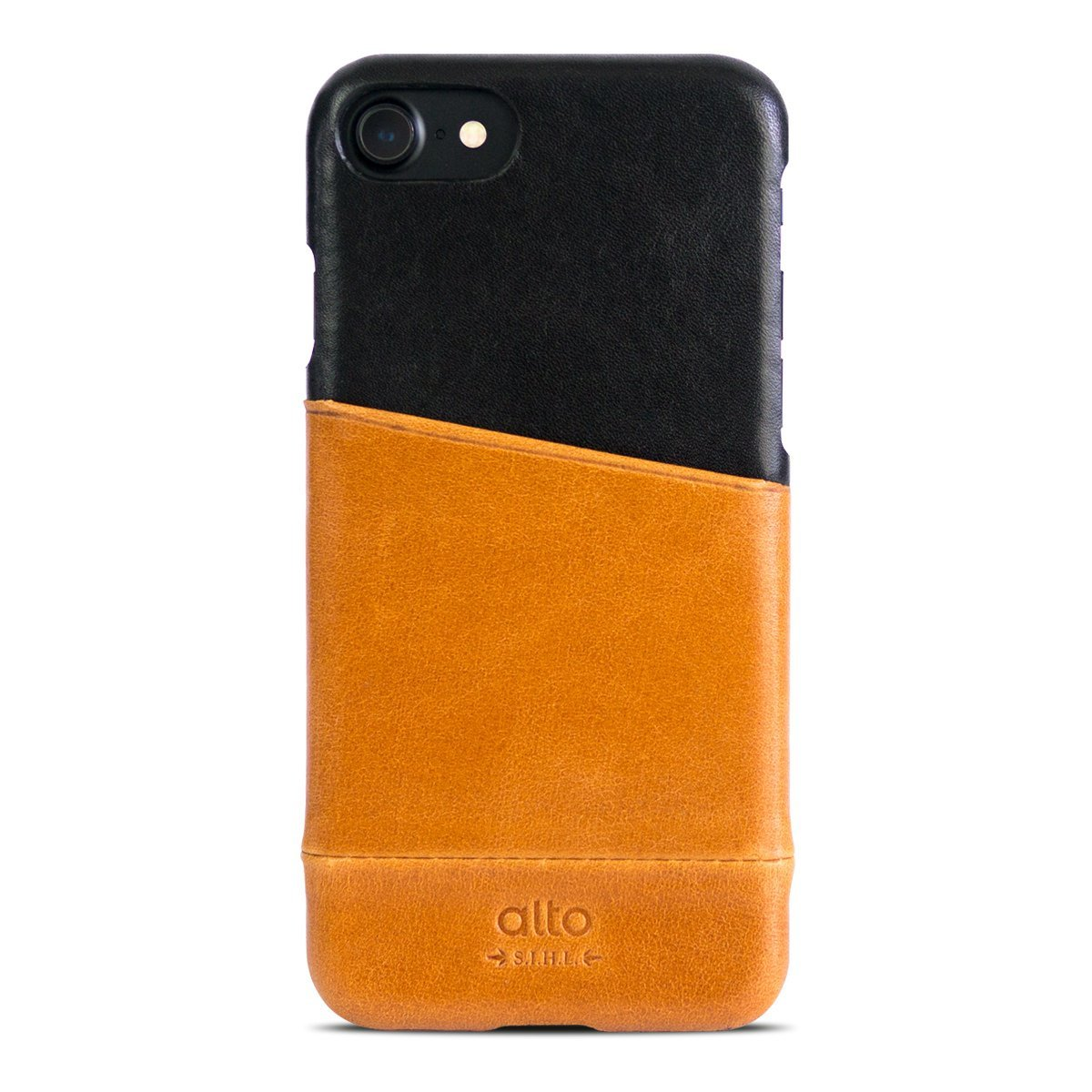 iPhone 8 / 7 皮革保護殼 Metro – 焦糖棕/渡鴉黑