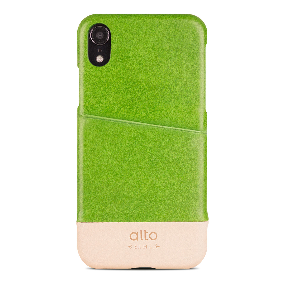 iPhone XR 皮革保護殼 Metro Leather Case 萊姆綠/本色