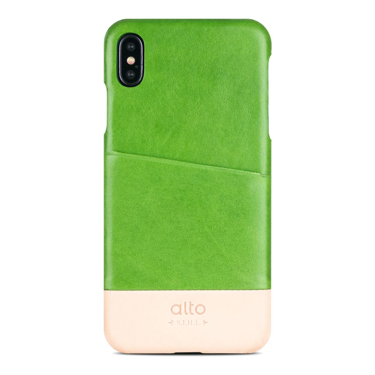 iPhone Xs Max 皮革保護殼 Metro Leather Case 萊姆綠/本色