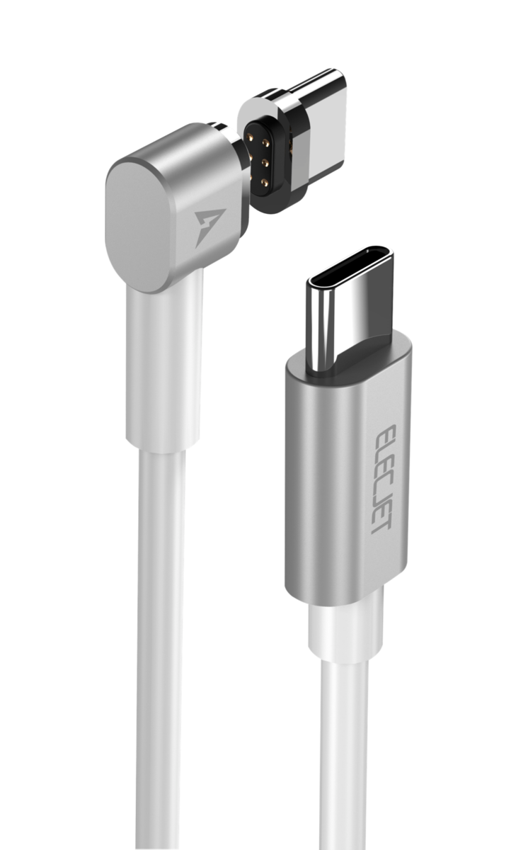 MAGJET Magnetic USB C to USB C Charging Cable + Tip Silver