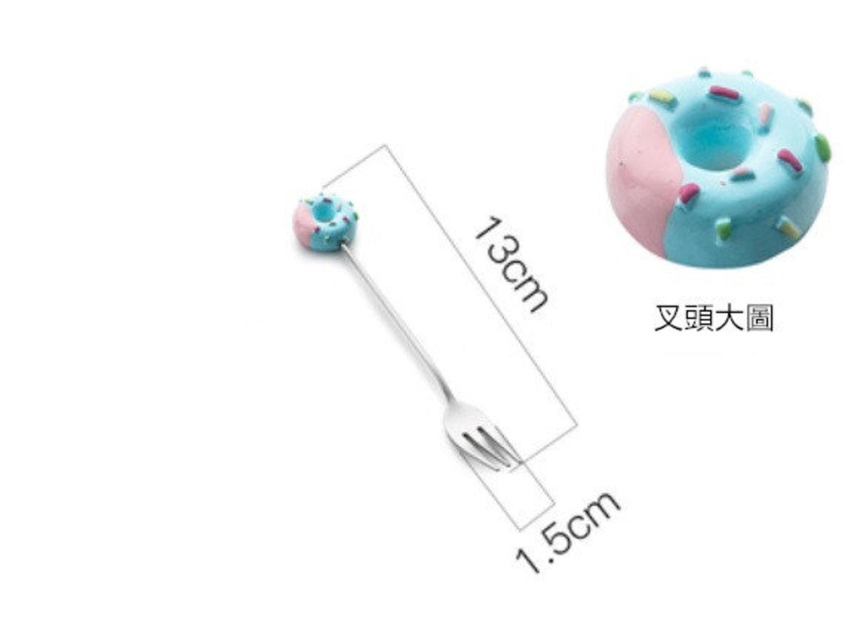 北歐創意水果叉子1件裝(藍色甜甜圈款)