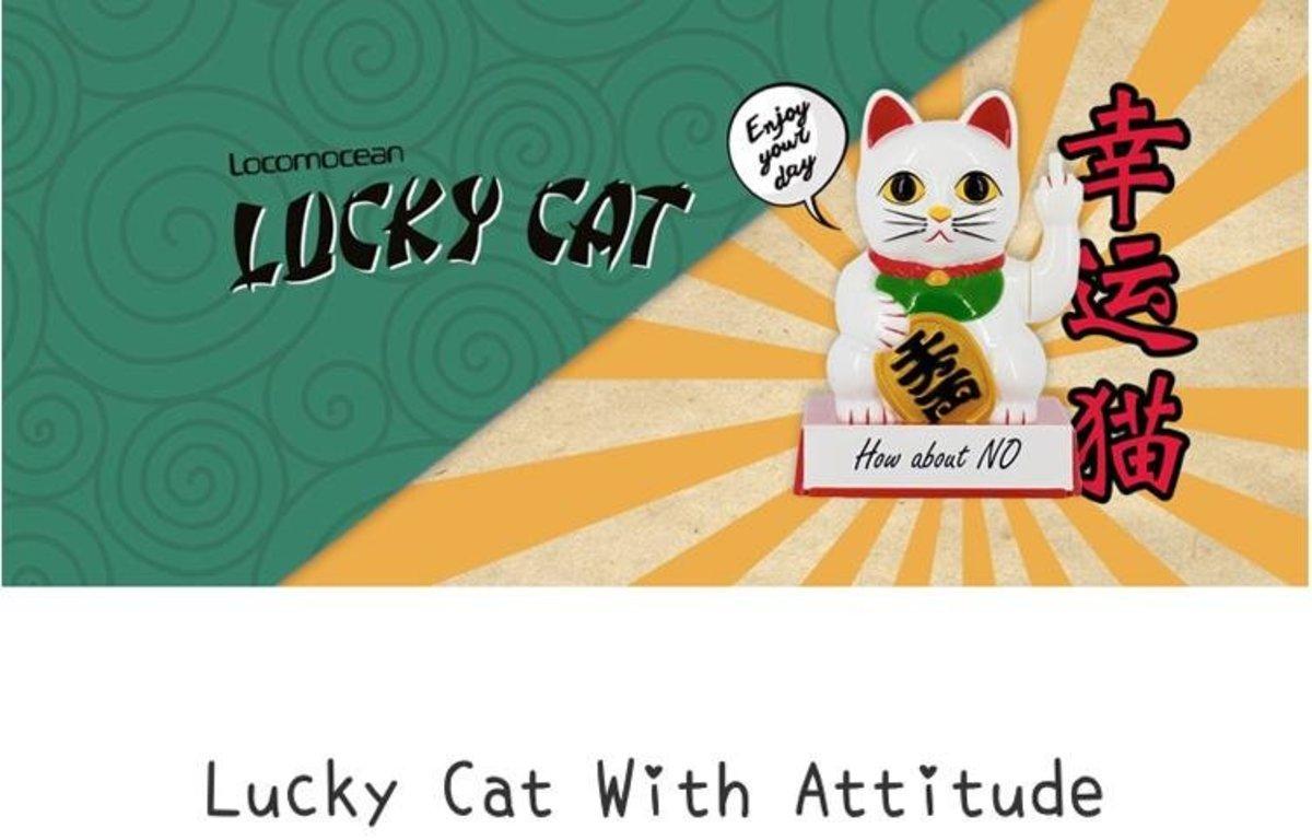 Winkekatze Cattitude Bad Cat white: peace & reflection