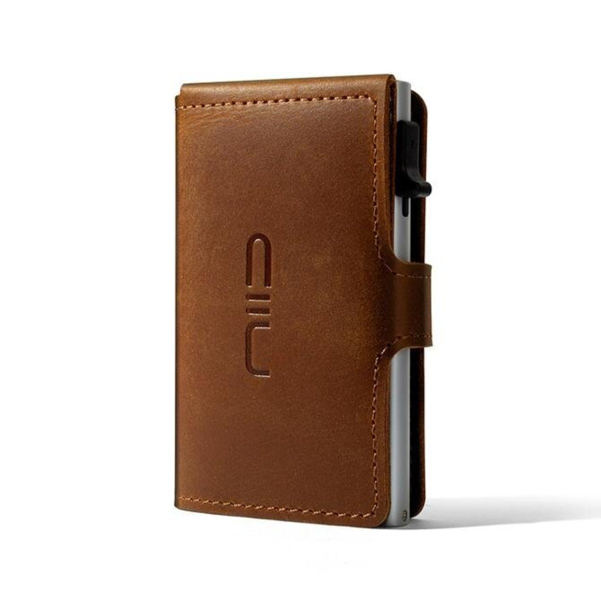 RFID Slide Mini Wallet Mad Horse Leather - Light Brown