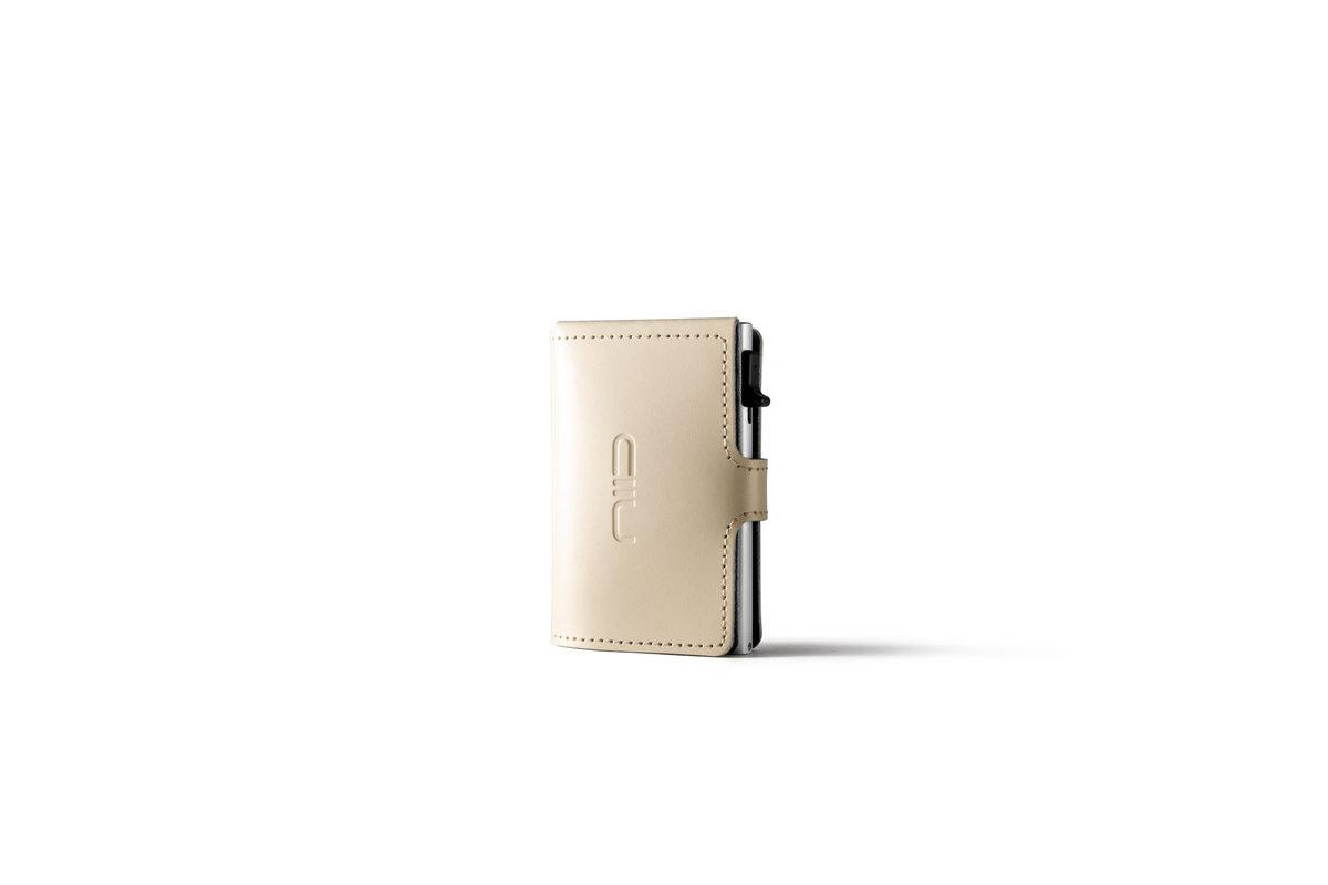 RFID Slide Mini Wallet Anti-scratch Genuine Leather - Beige