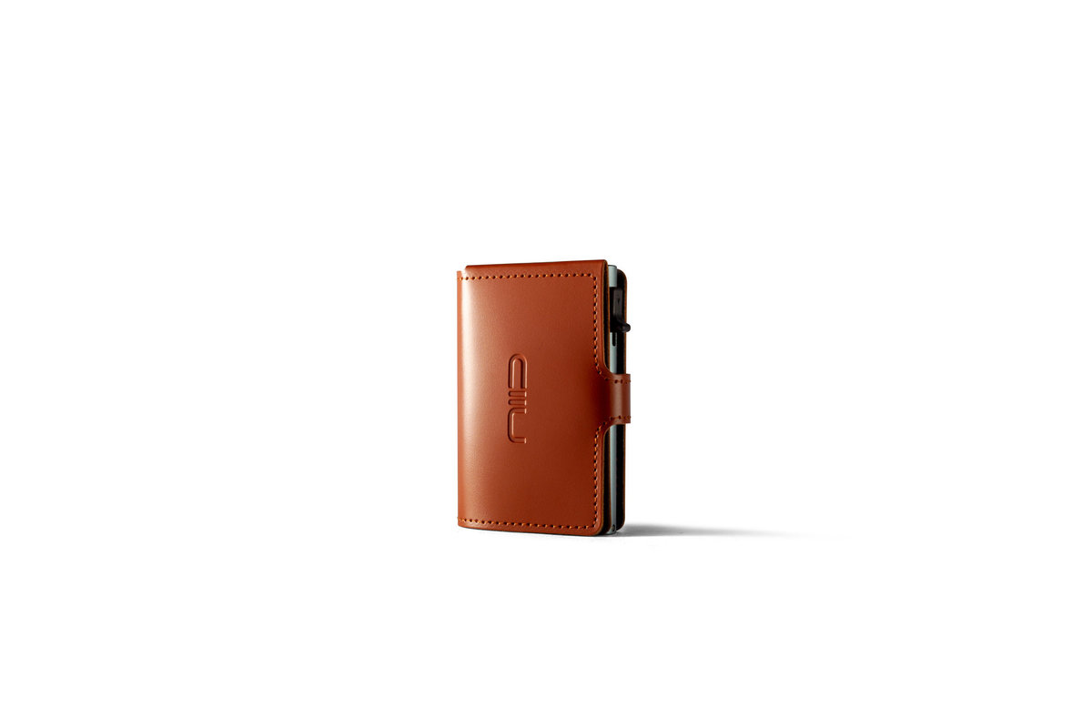 RFID Slide Mini Wallet Anti-scratch Genuine Leather - Carmel