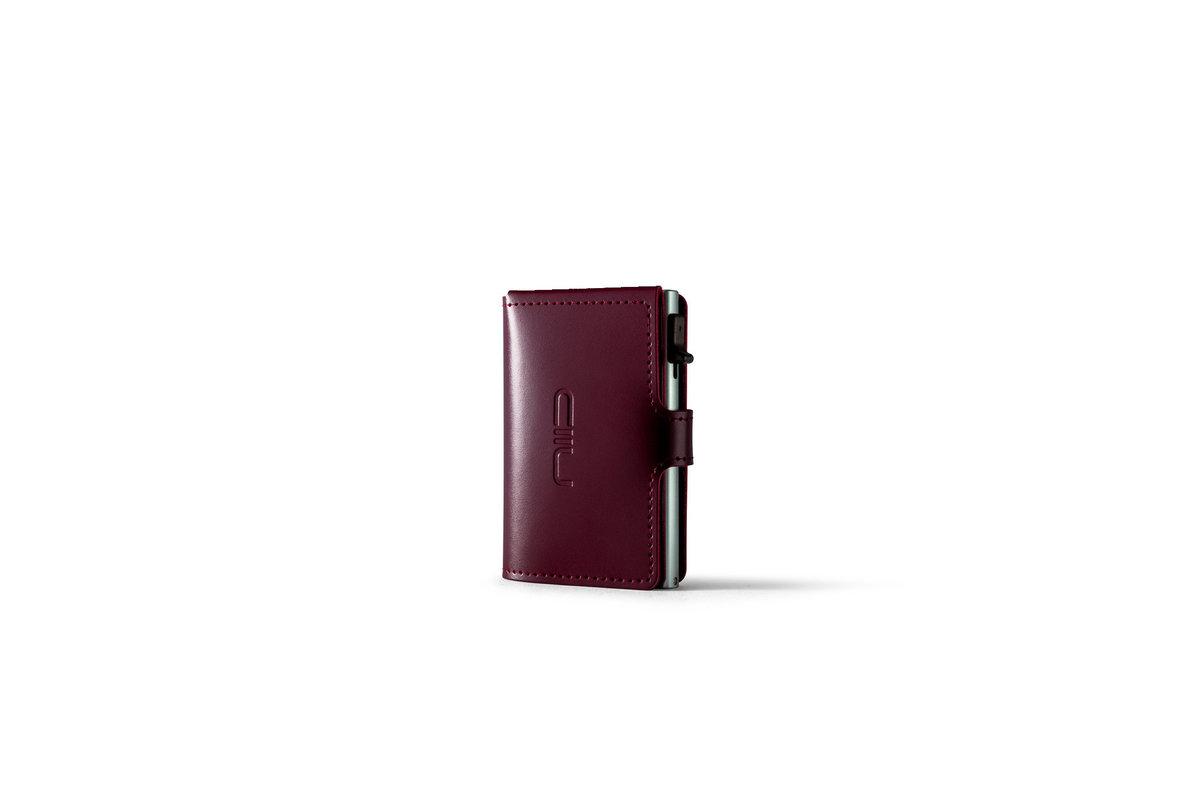 RFID Slide Mini Wallet Anti-scratch Genuine Leather - Wine Red