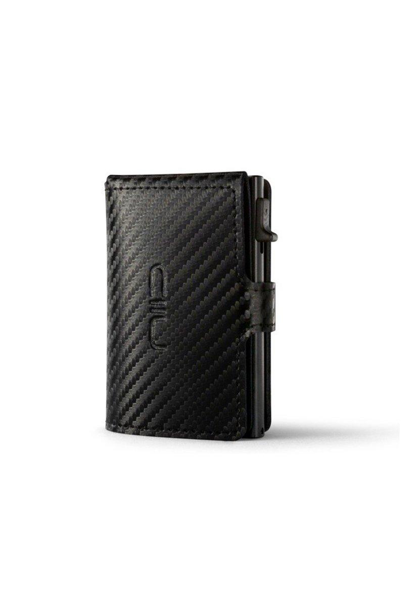 RFID Slide Mini Wallet Carbon Fiber Genuine Leather