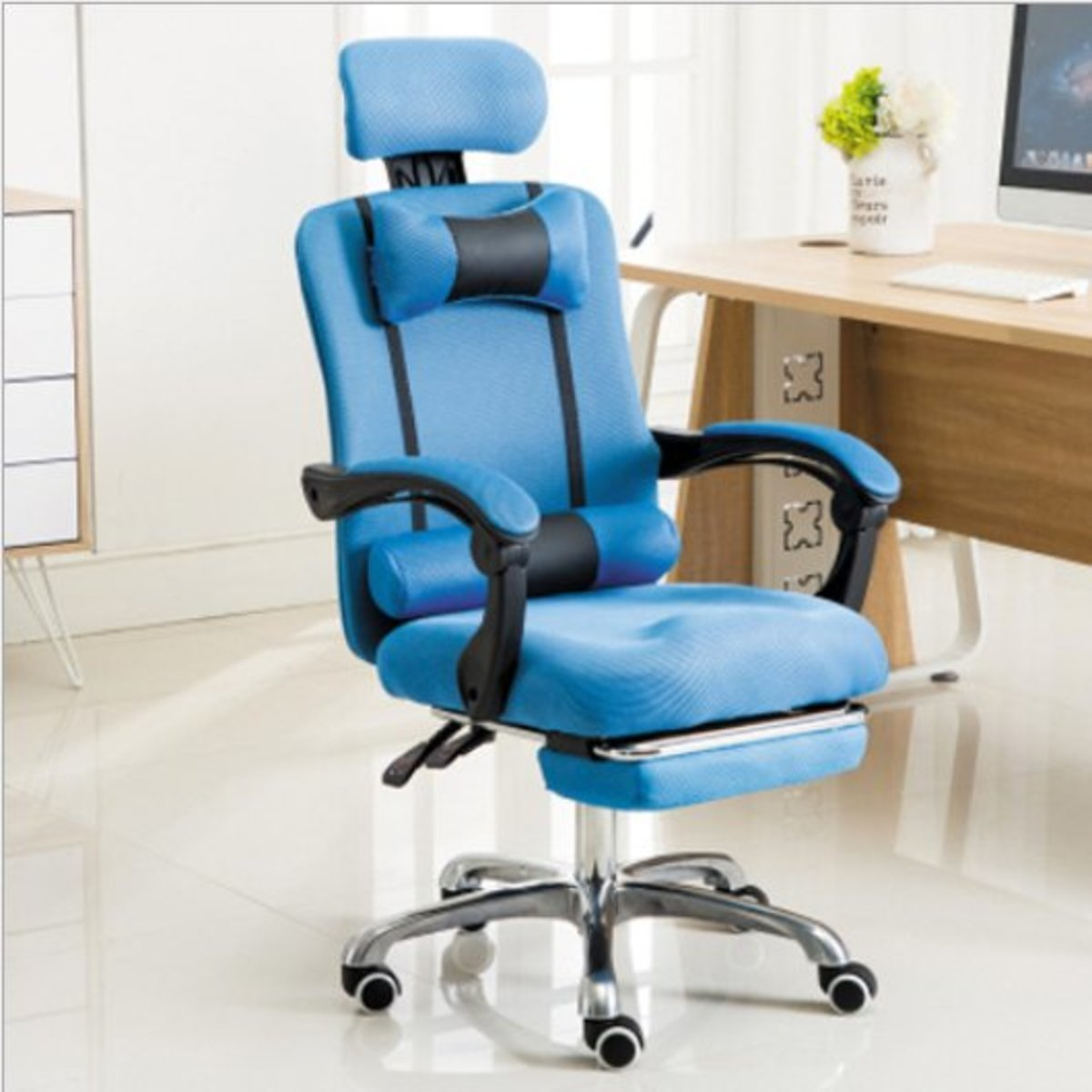 Ergonomic Liftable Computer Office Chair - Blue