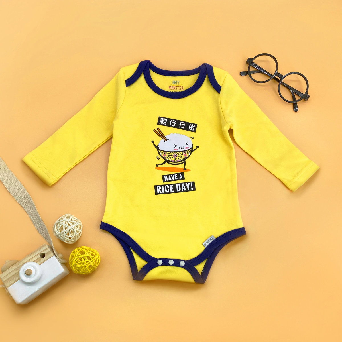 OMYMONSTER - Have A Rice Day Long Sleeve Bodysuit 0-3 month
