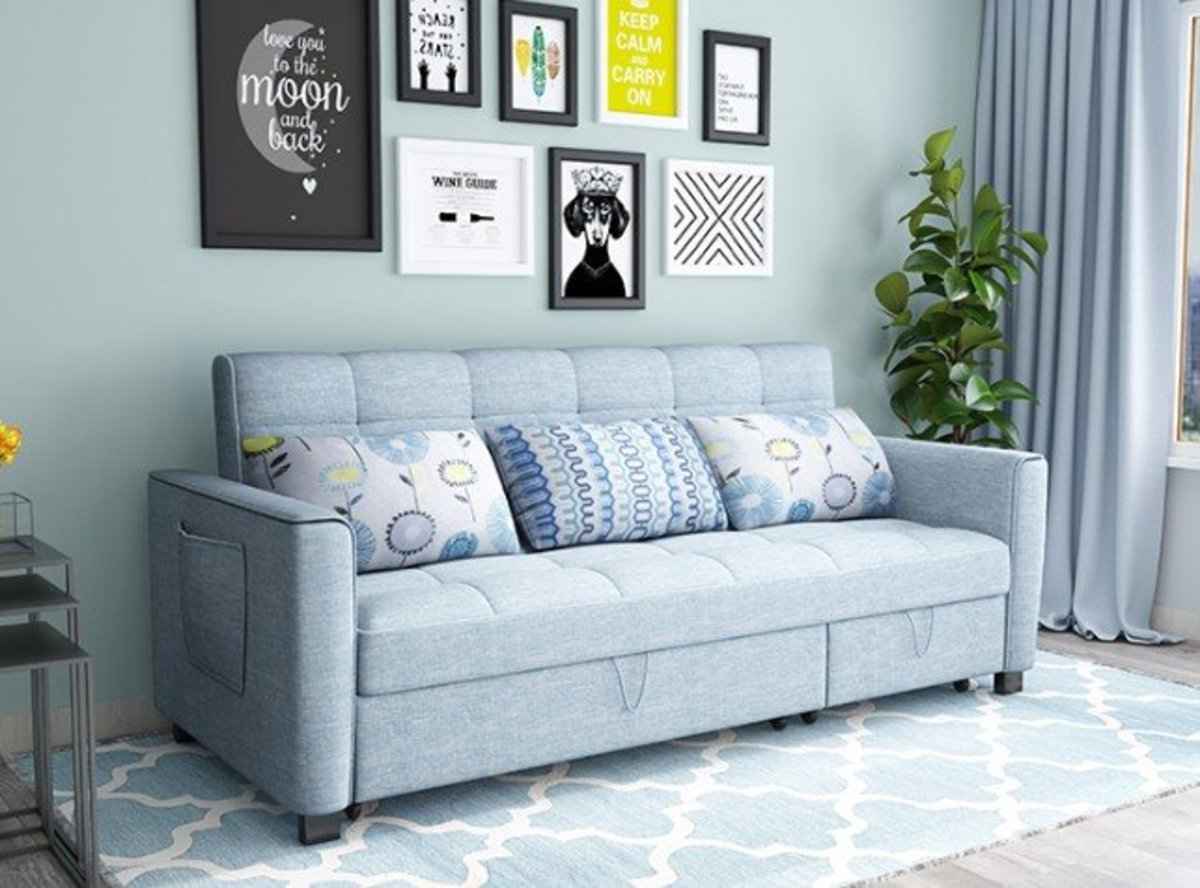 L shape fabric storage sofa bed