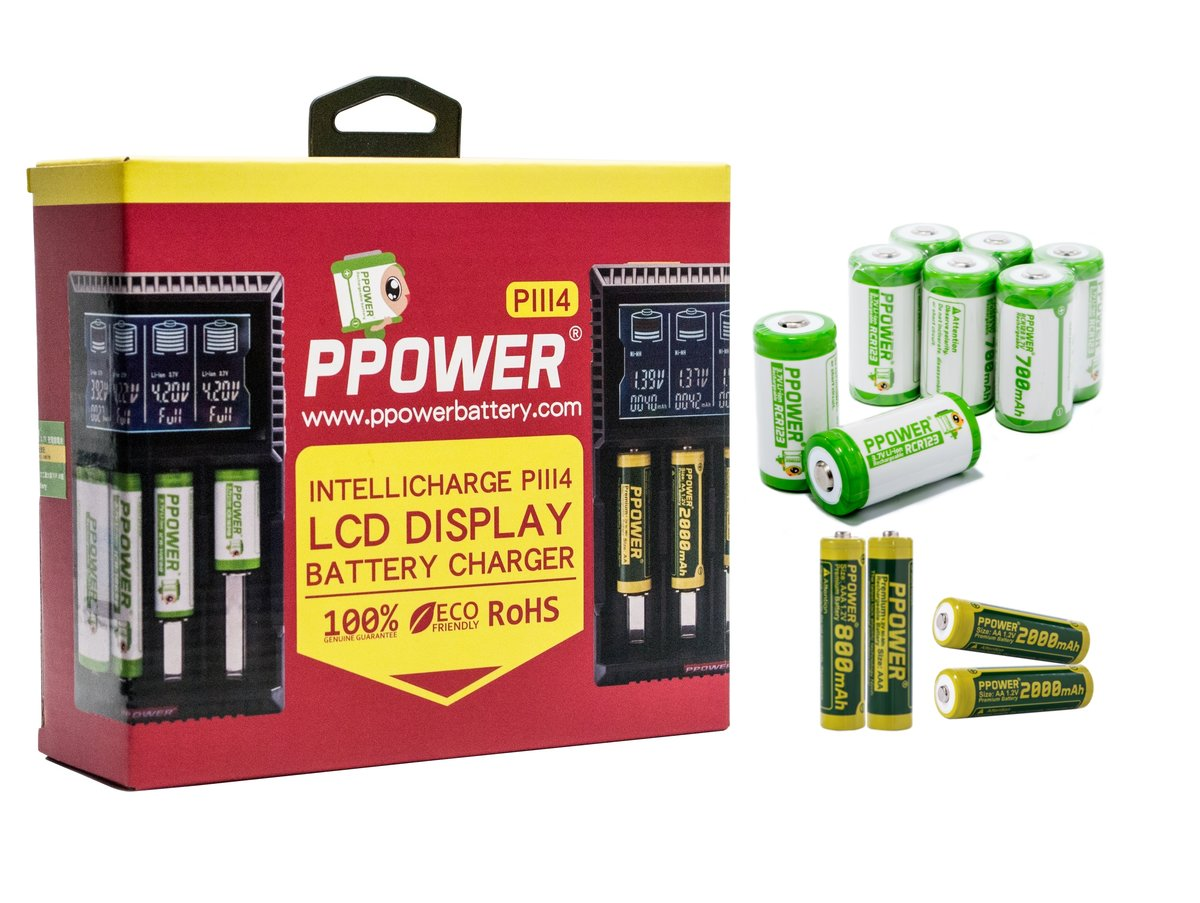 INTELLICHARGE PIII4 LCD DISPLAY BATTERY CHARGER+8x CR123 batteries+2x AA batteries+2x AAA batteries