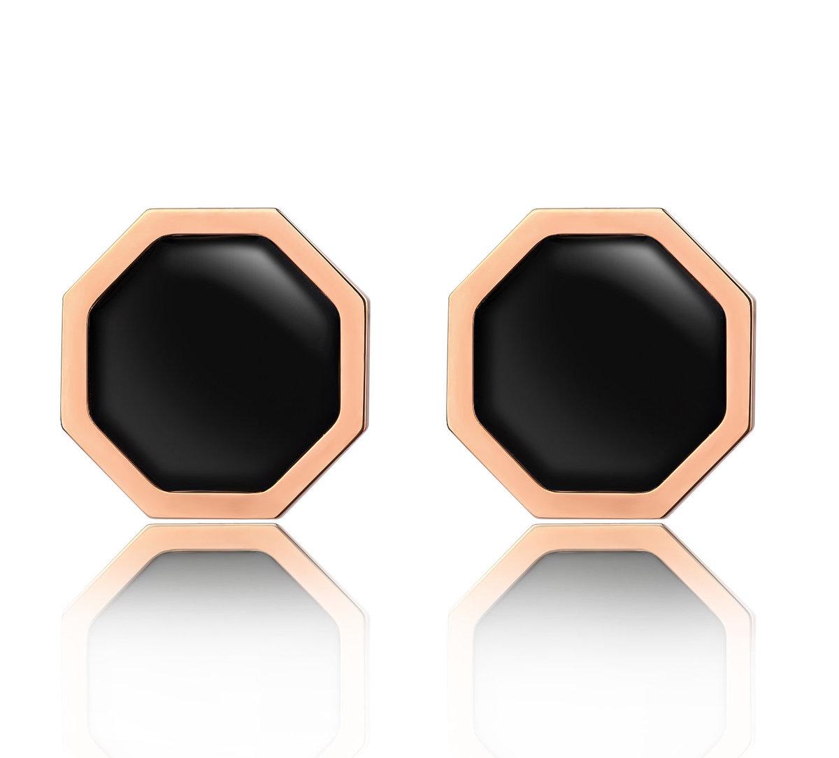 Okto Vintage Black Earrings Rose Gold Color