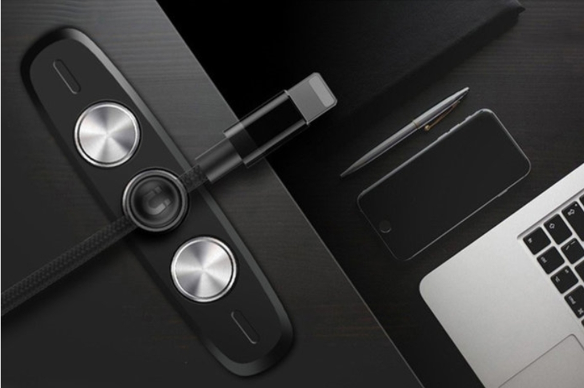 Metal Magnetic Desktop Cable Clip (Black)