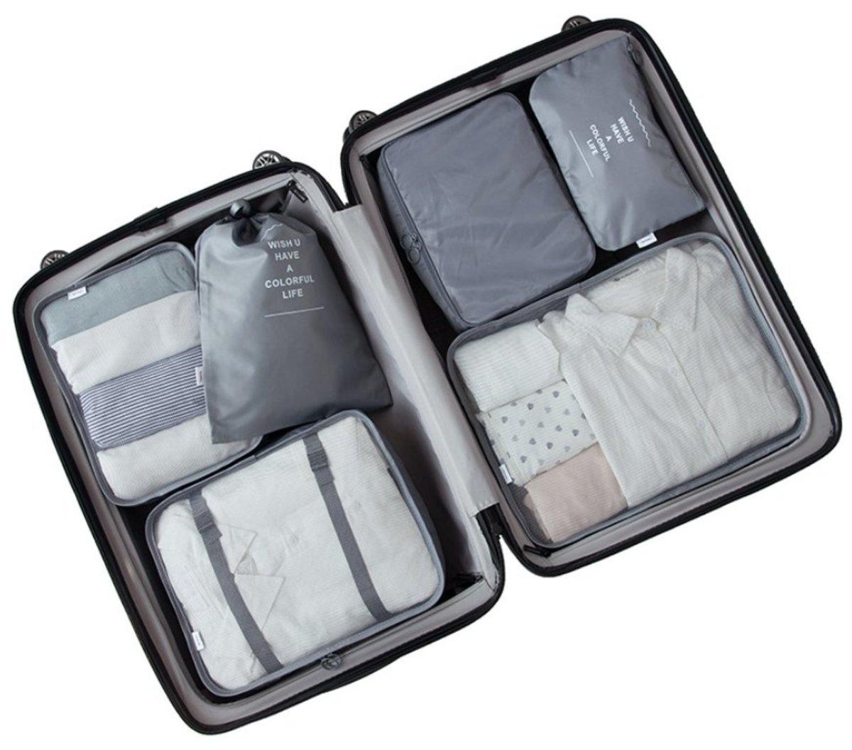6 件組旅行收納袋 (灰色)