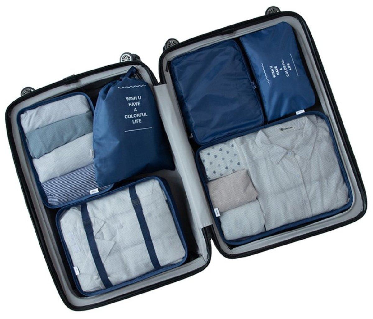 6pcs Travel Organizer Set Luggage Organizers (Navy Blue)
