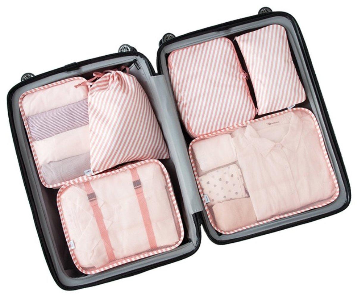 6pcs Travel Organizer Set Luggage Organizers (Pink)