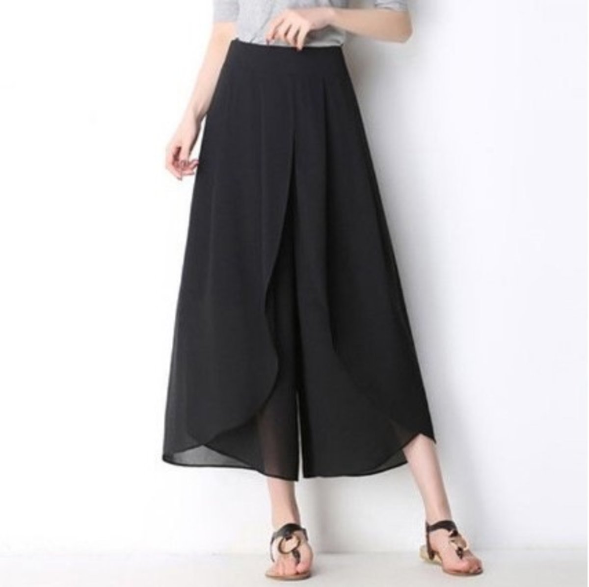 Chiffon Loose High-waist Wide Leg Style Trousers - Black
