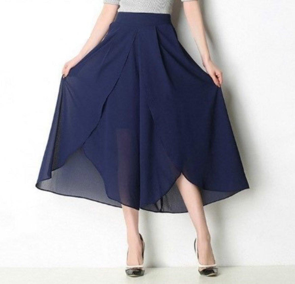 雪紡寬鬆高腰闊腿裙褲-藍色