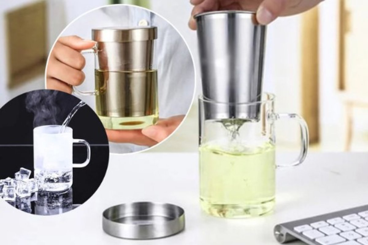Stainless Steel Strainer Heat Resistant Glass Cup