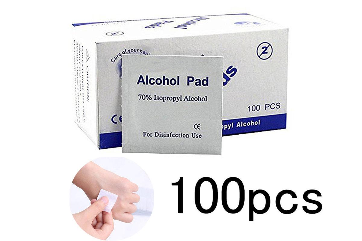 100片酒精消毒濕紙巾 (每盒100片, 共1盒) 消毒棉片,消毒濕巾,消毒酒精紙