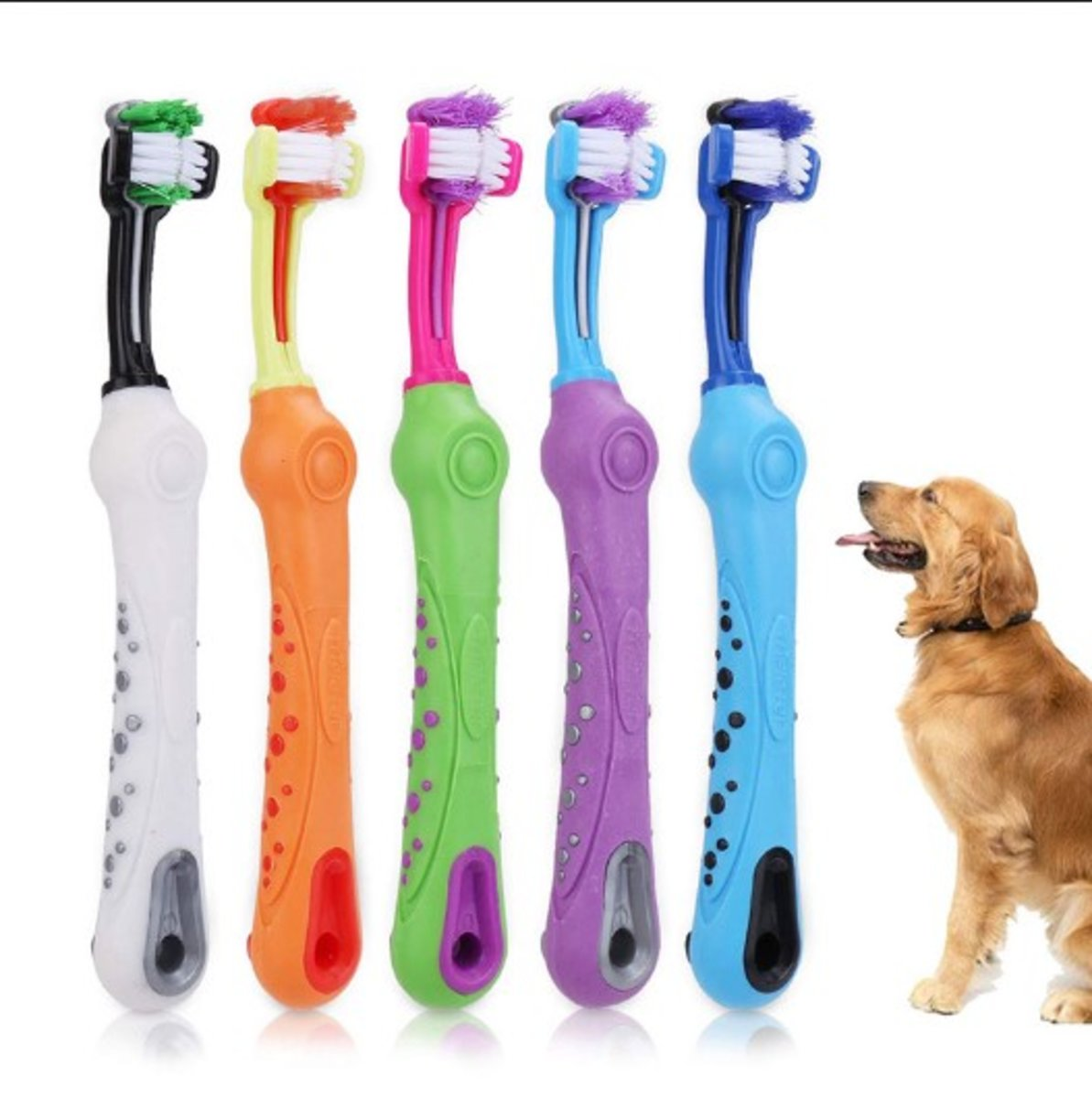 Pet Dog Three-head Multi-angle Cleaning Toothbrush